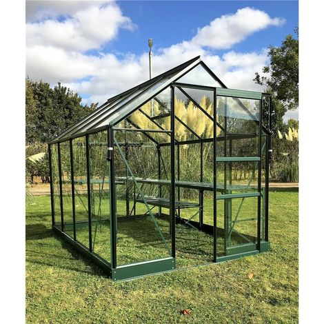 6ft x 12ft Premier Low Threshold Green Frame Greenhouse
