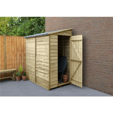 6ft x 3ft Pressure Treated Overlap Wooden Pent Shed (1.8m x 1.1m) - Modular (CORE)