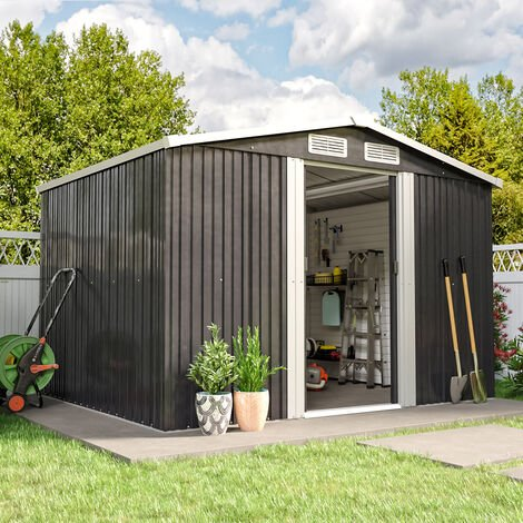 6ft x 8ft Metal Garden Shed Outdoor Tool shed - Dark Grey