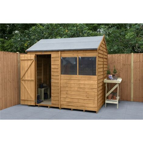 6ft x 8ft Reverse Apex Dip Treated Overlap Shed (1.9m x 2.4m) - Modular - CORE
