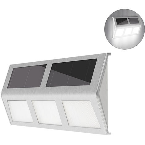 6LED Solar Powered Stair Lights Wall Lamp Solar Step Light Water-resistant Outdoor Lighting Walkway Light