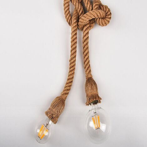 6M E27 Hemp Rope Double Head Vintage Hanging Pendant Ceiling Light Lamp Industrial Retro Country Style Dining Hall Restaurant Bar Cafe Lighting