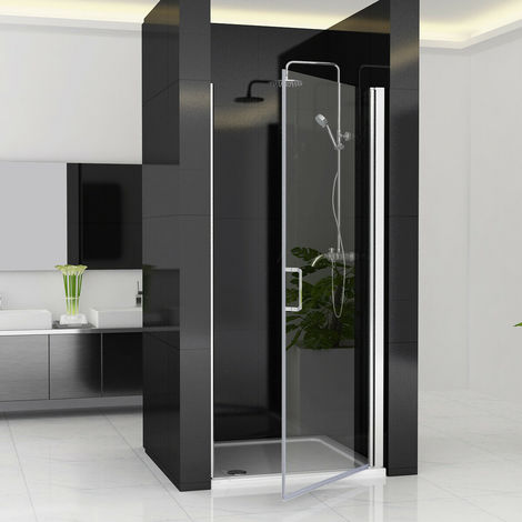 6mm Easy Clean Nano Glass Panel Wet Room Shower Enclosure Cubicle Pivot Hinge Shower Door - No Tray
