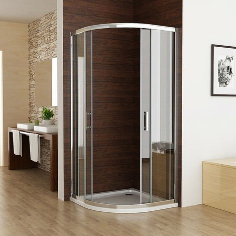 6mm Sliding Door Nano Easyclean Glass MIQU Offset Quadrant Shower Enclosure and Tray Corner Cubicle