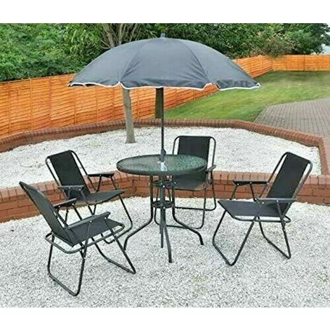 """main image of """"6pc Black Garden Furniture Set (Dining Table, 4 Chairs & Parasol)"""""""