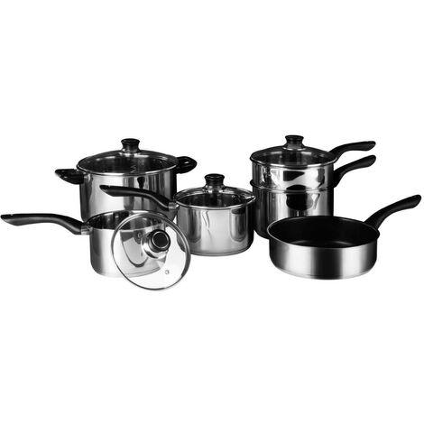 6pc Cookware Set,Stainless Steel,Bakelite Handles