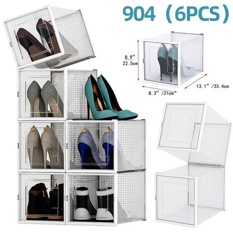 6pc Empilables Bo?te à chaussures Transparent bo?te de rangement tiroir Rack chaussures (904 (x6))