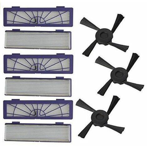 6PC Filtre +3pc Side Brosses remplacement pour Neato Botvac 70e 75 80 85