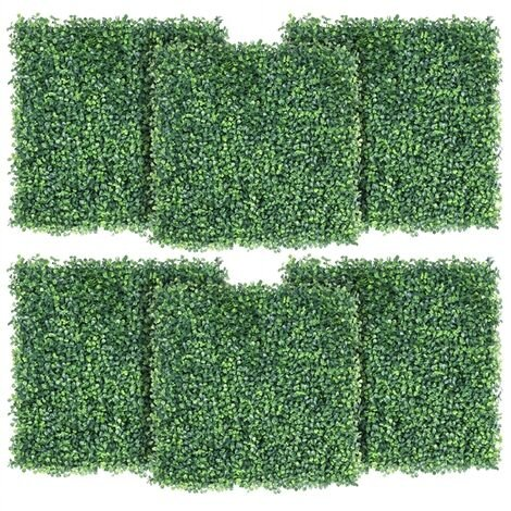 6PCS 50x50x3.6cm Artificial Expandable Boxwood Plastic Hedging Panels as Topiary Home Decoration Indoor Outdoor/Privacy Protective Screening Green Leaf Fence for Garden, Patio, Yard, Balcony
