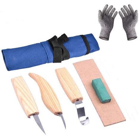 6pcs alta manganeso de acero Herramientas de talla de madera del cortador cuchara nitidez de piel Pulido Cera con los guantes a prueba de cortes de la madera artesania, azul