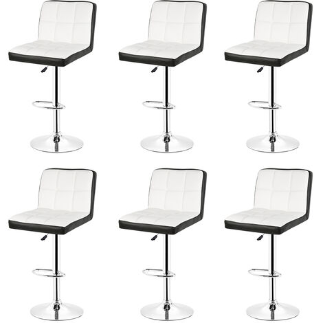 6pcs Bar Stool with Backrest £¬ 360 Degree Rotation, Height Adjustable £¬ White and Black