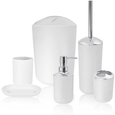 6pcs Bathroom Accessory Set Trash Can Soap Dish Dispenser Cup Toothbrush Holder