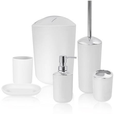 6Pcs Bathroom Accessory Set Trash Can Soap Dish Dispenser Cup Toothbrush Holder Gray Hasaki