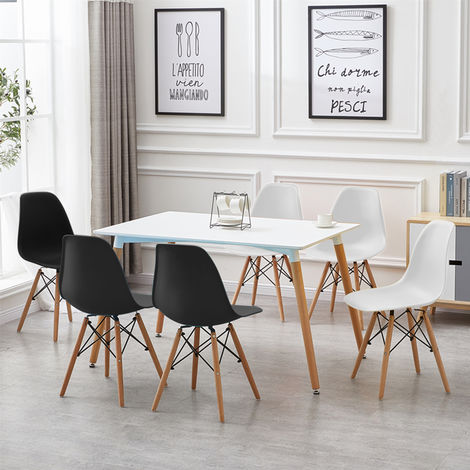 6pcs chaise scandinave Blanches de Salle a Manger