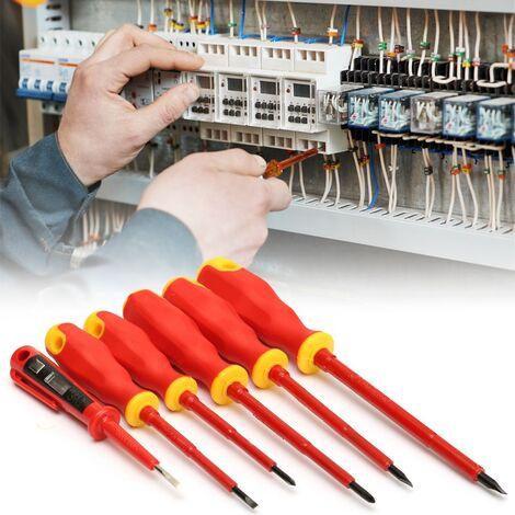 6Pcs Convenient Electricians Screwdriver Set Elastic Insulated Kit Tools