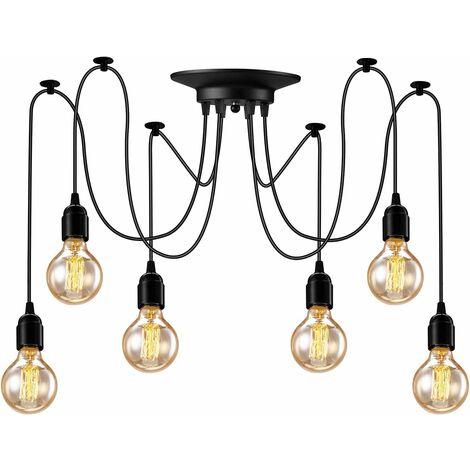 6PCS E27 Rétro Lustre Plafond Lampe Suspensions Luminaire Plafond Lumière éclairage Plafonniers Lustres Luminaire Eclairage