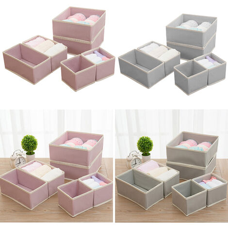 6pcs Fabric Box Drawer Insert Organiser Clothes Storage Socks Underwear Makeup Case