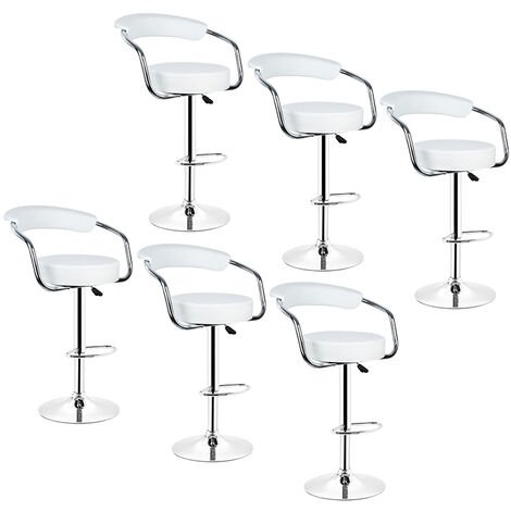 6PCS Faux Leather Bar Stools, Height Adjustable Bar Chair and Footrest White Swivel Kitchen Chair