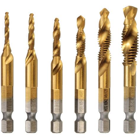 6Pcs M3-M10 Hss Hex Drill Bit Countersink Metric Drill Bit Coated Drilling Drill Tool Nf Hasaki
