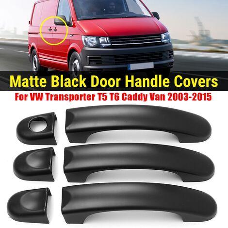 6pcs Matte Black 3 Door Handle Covers For VW Transporter T5 T6 Caddy Van
