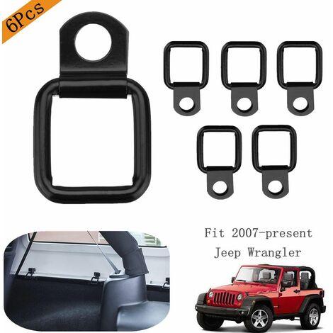 6Pcs Noir D-anneaux D-bagues Cargo Pour Jeep Wrangler Tronc et Cargo Net Couverture