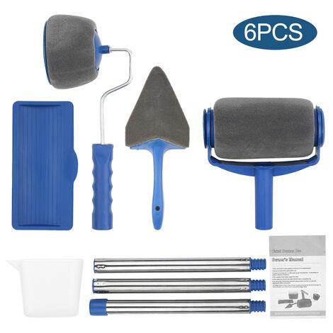 6Pcs Pinceau Set Seamless Nouveau Type De Tambour Multifonction Rouleau A Peinture Menage Pinceau D'Angle Peinture Peinture Outil Pinceau Bleu Gris + Kq-000139