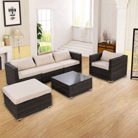 6PCS Rattan Wicker Furniture Set Outdoor Patio Conservatory Cushioned Sofa Table