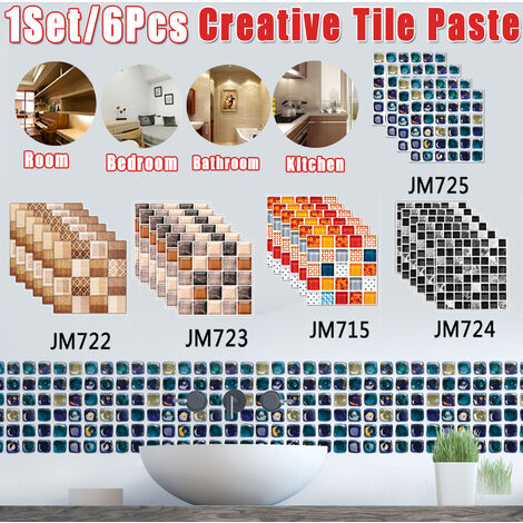6pcs / set Azulejos de piso de escalera de pared de cocina decorativos de baño autoadhesivos antideslizantes (Tipo D 6PCS)