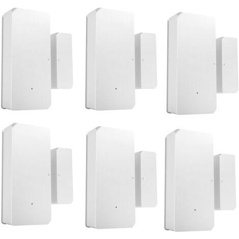 6PCS SONOFF DW2-RF-433MHZ Sensor Puerta Ventana Alarma Sensor RF 433Mhz Automatizacion inalambrica Alarma antirrobo Compatible con Puente RF para sistema de alarma de seguridad para el hogar inteligente, Blanco calido, 6