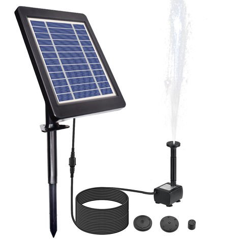 6V/3.5W Solar Powered Fountain Pump Water Pump with Adjustable Solar Panel DIY Birdbath Fountain