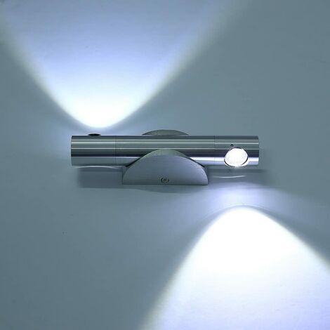 6W Eclairage Mural Moderne Couloir Blanc Froid LED Applique Murale Intérieur En Aluminium Lampe Murale Luminaire Up Down Rotation Réglable 360° pour Chambre [Classe énergétique A++]