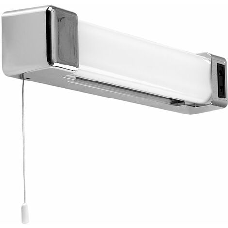 """main image of """"6W LED Bathroom Wall Light with Shaver Socket & Pull Switch - Chrome"""""""