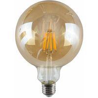 6w LED Filament ES E27 Giant Globe Amber Light Bulb - Warm White 2700K