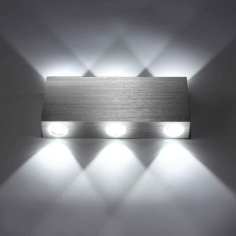 6W Modern LED Wall Light Up Down Wall Lights Aluminum Wall Lamp Lighting for Living Room Bedroom Corridor, Cool White
