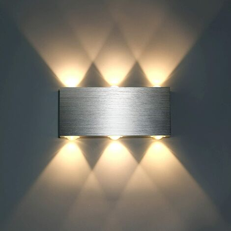 6W Modern LED Wall Light Up Down Wall Lights Aluminum Wall Lamp Lighting for Living Room Bedroom Corridor, Warm White