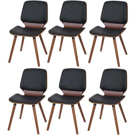 6x Chaise de salle à manger HHG-094, bois courbé, rétro, aspect noyer