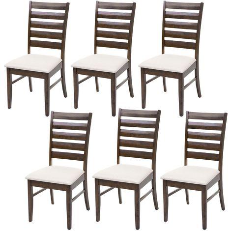 6x chaise de salle à manger HHG-527, chaise pour cuisine, tissu, en bois massif