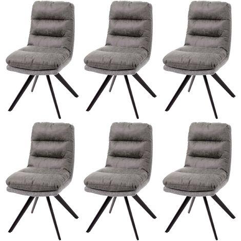 6x Chaise de salle à manger HHG-847, cuisine,pivotante,auto-position,tissu ~ gris clair-gris, avec accoudoirs