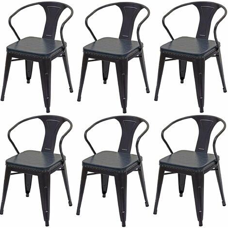 6x chaises de salle à manger cuisine en simili cuir et métal style industrielle gris noir - noir