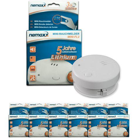 6x detector de humo Nemaxx Mini-FL2 Mini Detector de Fuego y humo detector con batería de litio de acuerdo con la norma DIN EN 14604