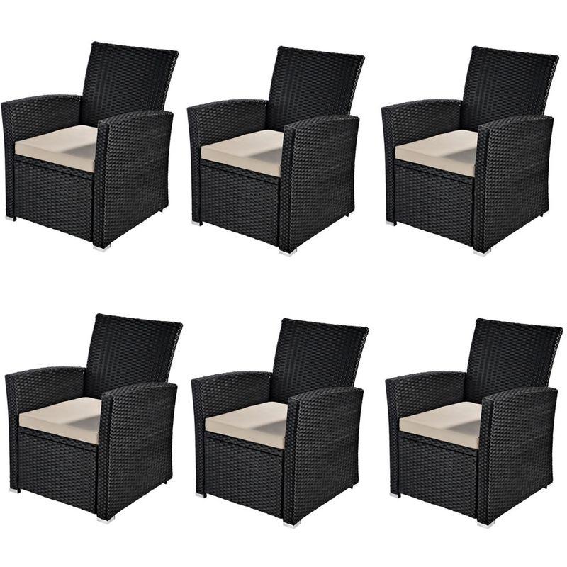 6x Fauteuil de jardin, chaise en rotin, mobilier de jardin, sièges de balcon, fauteuil en rotin en noir
