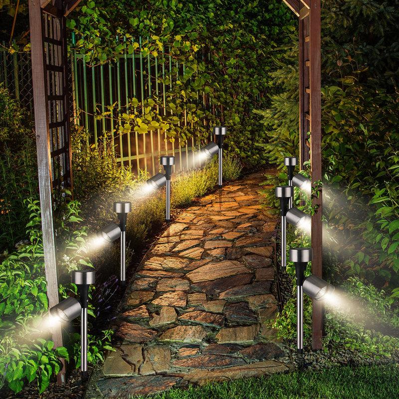 Allée Extérieur Solaires 8h Jardin 6x Lampes Autonomie Éclairage Plantes Led TFl1JcK