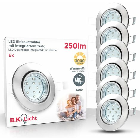 6x LED Einbaustrahler schwenkbar weiß GU10 Decken-Spot Einbau-Leuchte: 6 Stück, Weiß