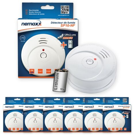 6x Nemaxx SP détecteurs de fumée durable avec 10 ans pile au lithium 9V - DIN EN 14604 : 2005/AC : 2008 certifié