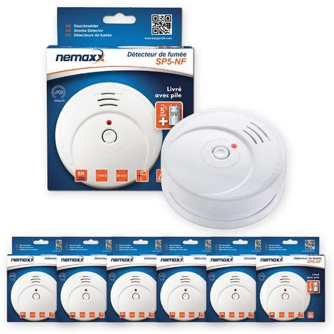 6x Nemaxx SP5-NF Detector de humo de alta calidad con pila incluida de 9V - Blanco