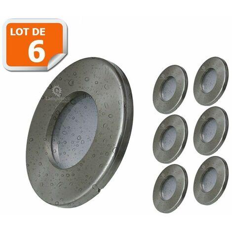 6X Spots LED Encastrables Alu Brossé Etanche IP44 Pour Salle de Bain Blanc Chaud