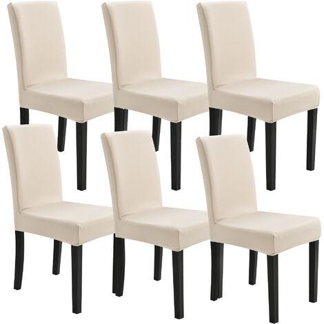 6x Stuhlhusse 42-53cm Sandfarben Stretchhusse Stuhlbezug Stuhlüberzug