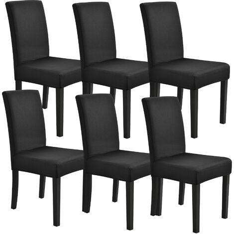 6x Stuhlhusse 42-53cm Schwarz Stretchhusse Stuhlbezug Stuhlüberzug