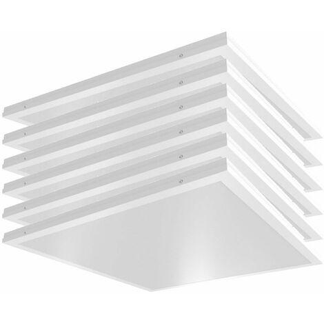 6x techos LED Un panel de rejilla de construcción Iluminación de la sala de estar Oficina Luces de luz natural Lámparas ALU blancas