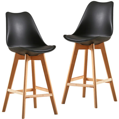 6X Un ensemble de deux chaises de bar de style scandinave noir